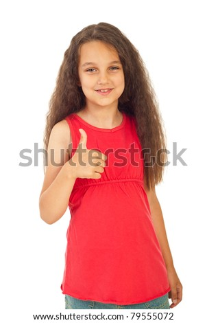 Beautiful girl in pink blank t-shirt giving thumb up isolated on white background