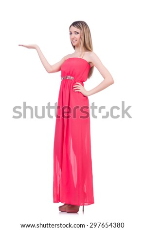 Beautiful girl in pink long dress isolated on white - stock photo