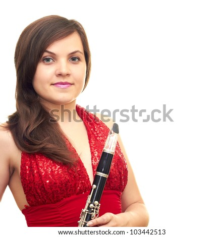 beautiful girl in red dress isolated on white background holding clarinet