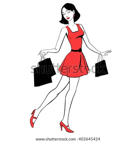 beautiful girl in red dress with purchases