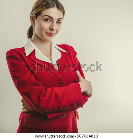 Beautiful girl in red jacket