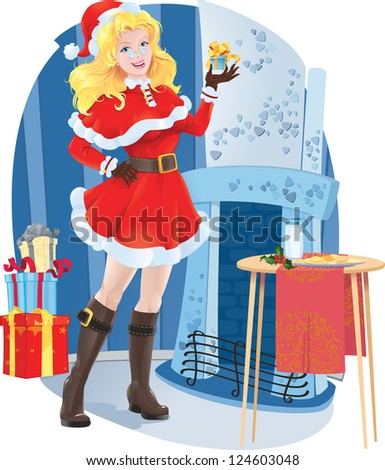 Beautiful girl in Santa costume. - stock photo