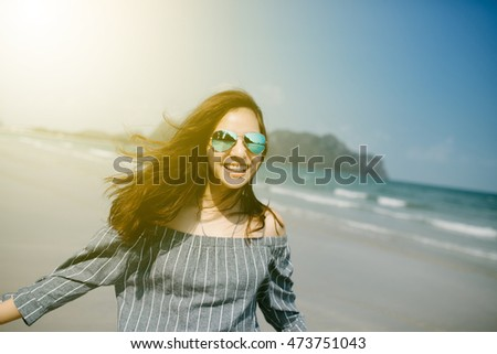 Beautiful Girl in sea style.Travel and Vacation. Freedom Concept.
