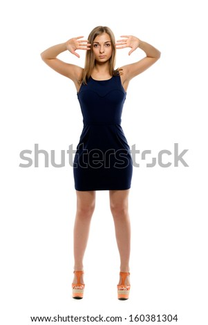 Beautiful girl in sexy mini dress. Isolate on white background - stock photo
