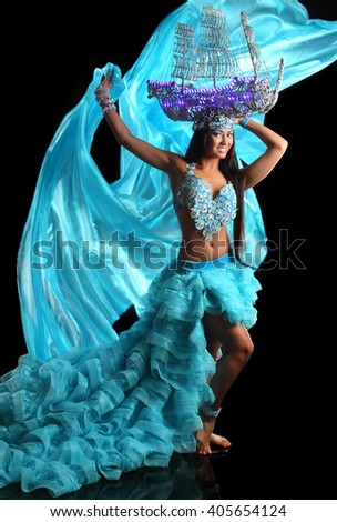 beautiful girl in stage costumes with ship - stock photo