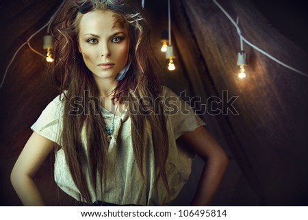 beautiful girl in the apocalyptic story - stock photo