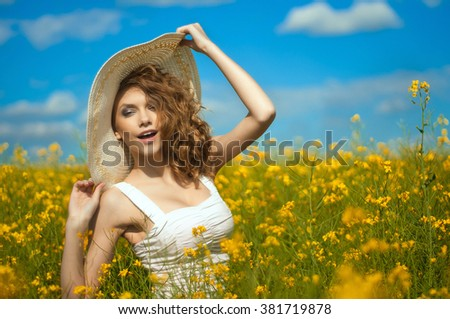 beautiful girl in the hat - stock photo