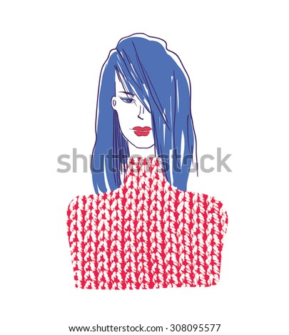 beautiful girl in the knitted sweater. fashion illustration