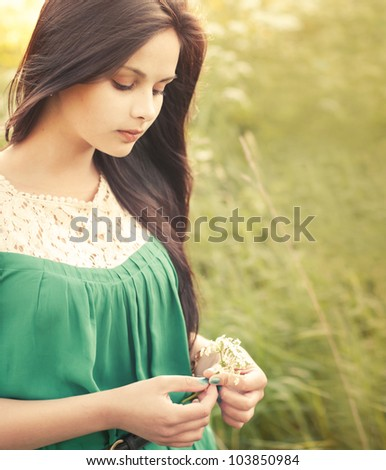 beautiful girl in the summer - stock photo