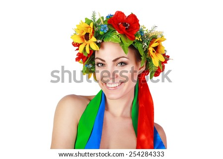 beautiful girl in the Ukrainian national wreath