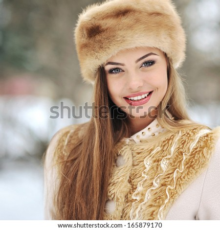 Beautiful girl in winter  - stock photo