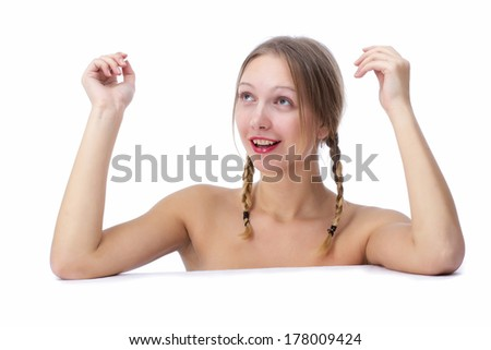 Beautiful girl, isolated on a white background, emotions
