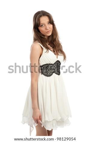 beautiful girl isolated on white background - stock photo
