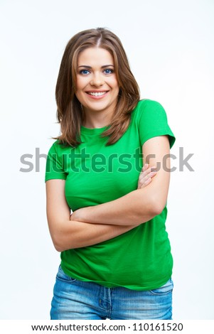 Beautiful girl isolated on white background . Green dressed . - stock photo