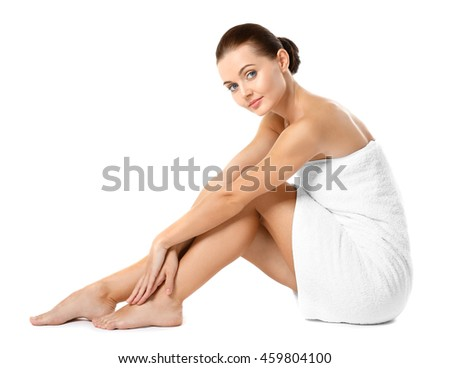Beautiful girl, isolated on white. Spa concept