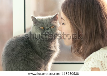 beautiful girl like a cat - stock photo