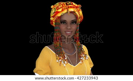 beautiful girl of the African appearance, 3D illustration