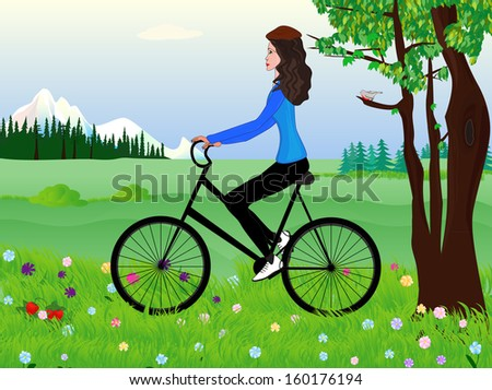Beautiful girl on a bike at the spring meadow. Raster version - stock photo