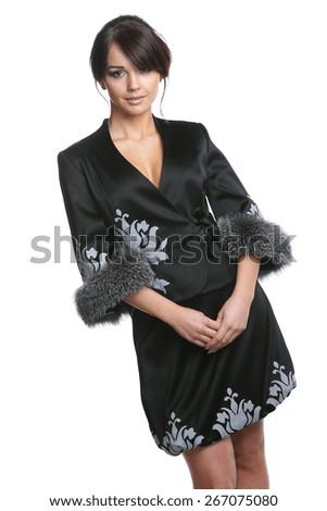 beautiful girl on a white background, beautiful figure, stylish clothes, beautiful long hair - stock photo