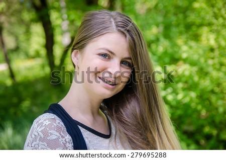 beautiful girl on nature - stock photo