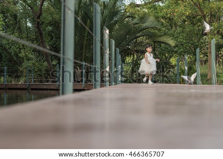 beautiful girl on old wooden bridge in forest