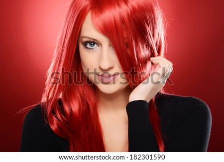 Beautiful Girl on red background - stock photo