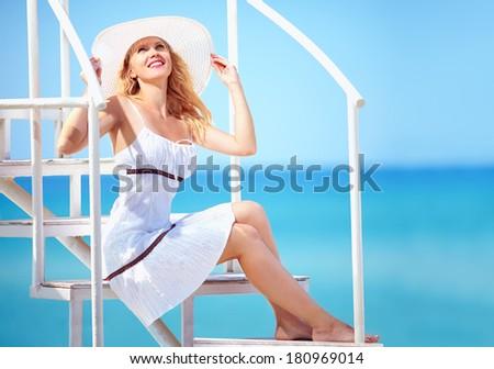 beautiful girl on summer vacation trip - stock photo
