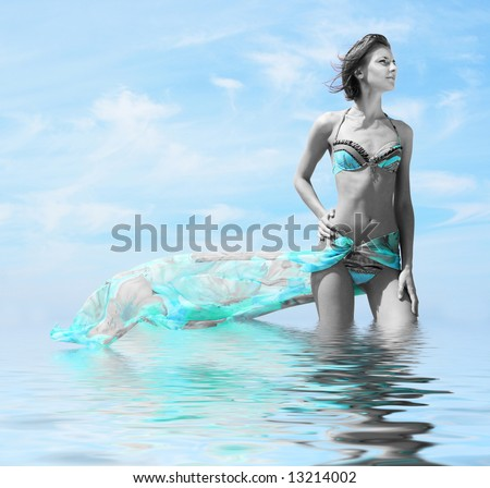 beautiful girl on the beach - stock photo