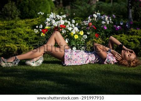Beautiful girl on the nature - stock photo