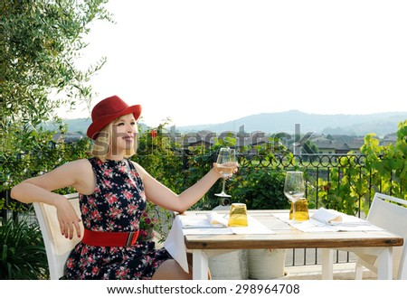beautiful girl on the terrace - stock photo