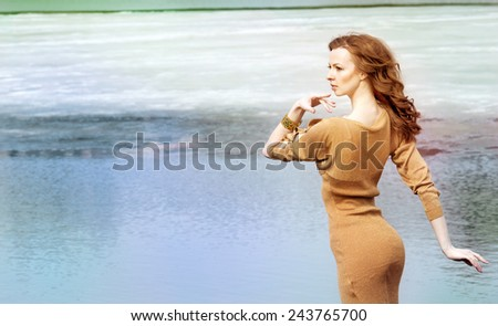 beautiful girl on walk in autumn - stock photo