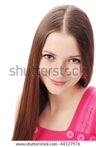 beautiful girl on white background - stock photo