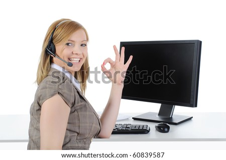 Beautiful girl operator at work in the office. Isolated on a white background