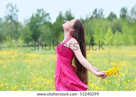 beautiful girl outdoor - stock photo