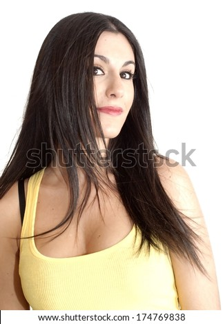 Beautiful Girl over white background