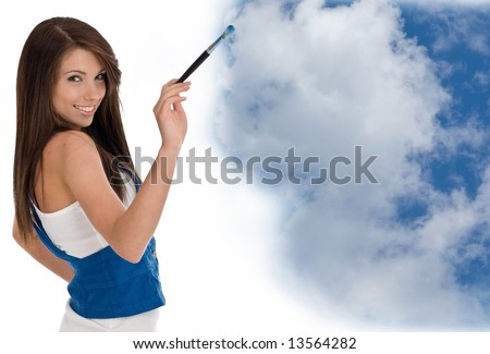 Beautiful girl painting sky and clouds
