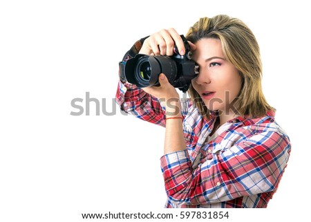 Beautiful Girl photographer. Girl with camera on white background. The girl takes pictures, hobbies like making money. modern youth
