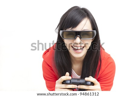 beautiful girl playing 3D video game - stock photo