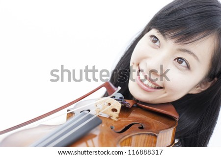 beautiful girl playing the violin, isolated on white background
