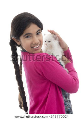 Beautiful Girl Playing with Her Cat Isolated on White Background - stock photo