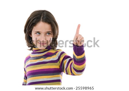 Beautiful girl pointing with focus in the hand -Shallow DOF- - stock photo