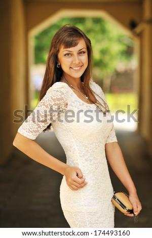 Beautiful girl portrait - outdoors - stock photo