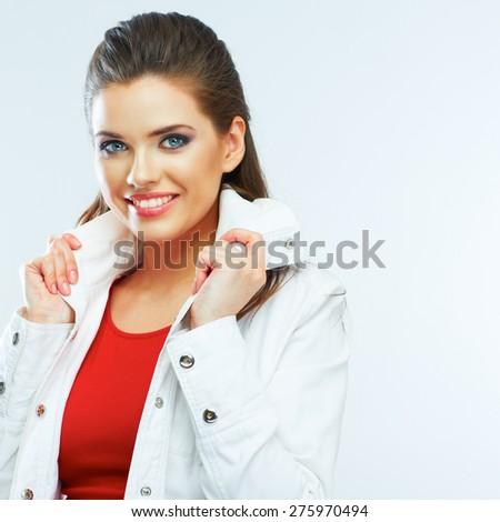 Beautiful girl portrait. Studio young model posing. - stock photo