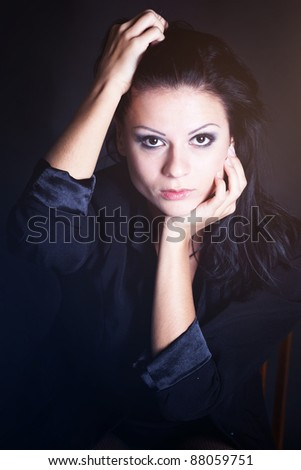 Beautiful girl portrit shooted in studio - stock photo