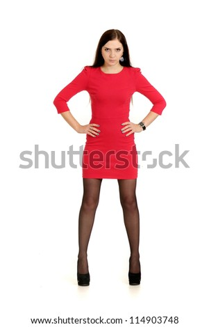 beautiful girl posing on a white background - stock photo
