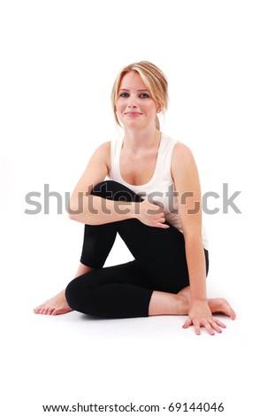 Beautiful girl practicing yoga - stock photo