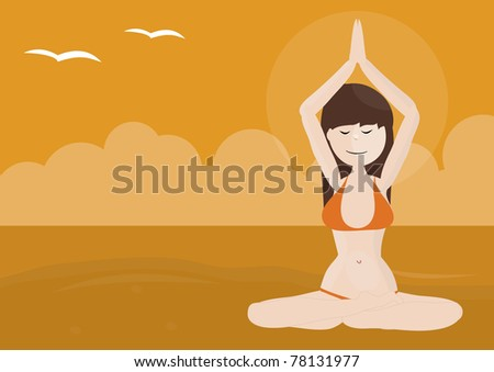 Beautiful girl practicing yoga on a beach