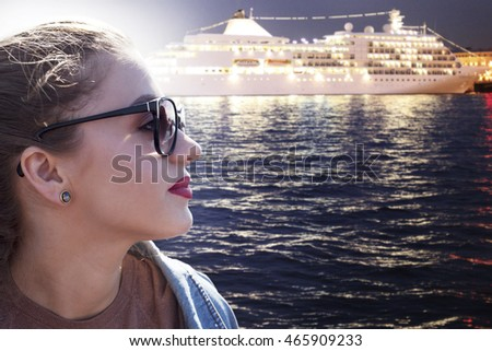 Beautiful girl ready to travel on a cruise ship. liner.