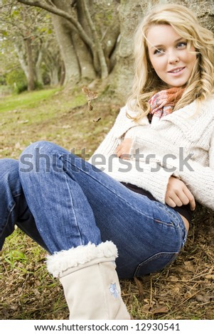 beautiful girl relaxing in the park