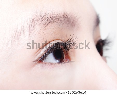 Beautiful girl right eye with long eyelashes. asian woman model